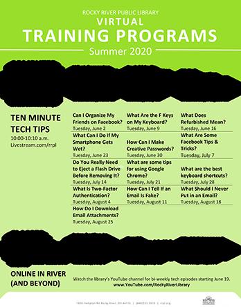 Summer 2020 Virtual Training Schedule