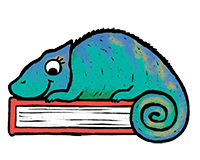 Chameleon with book