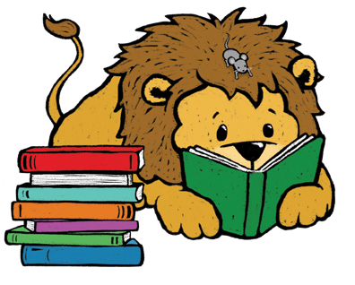 lion reading book